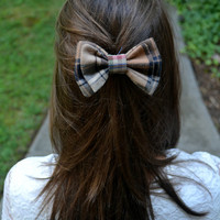 Brown and Navy Plaid Bow