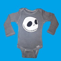 Hipster Kids Grey Baby Onesuit with Jack Skellington Face