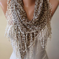 Gift - New - Handmade - Fashion Scarf -  Leopard and  Light Brown-Gray Scarf with Beige Trim Edge - Combed Cotton Fabric
