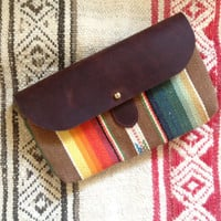 The Shelburne Clutch // Bright Rainbow Stripe and Waxed Canvas with Soft Chocolate Brown Leather Closure