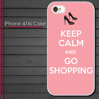 Keep Calm and Go Shopping - iPhone 4 Case - iPhone 4s Case - iPhone 4 cover  skin Plastic