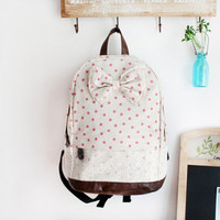White and Pink Polka Dot Backpack