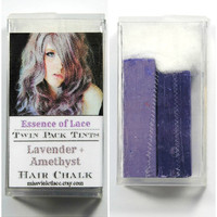 LAVENDER and AMETHYST - Hair Chalk // Twin Pack Tints // Purple Dip Tie Dye // Boho Hipster Emo Scene Pastel Set // Safe for Human Hair