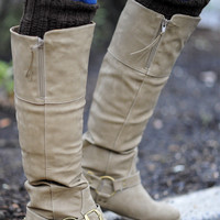 Finders Keepers Riding Boots: Taupe | Hope&#x27;s