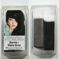 RAVEN and SLATE GREY - Hair Chalk // Twin Pack Tints // Black Gray Grey Dip Tie Dye // Boho Emo Scene Pastel Set // Safe for Human Hair