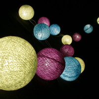 Lemon Green Blue and Purple tone mixed Hanging stringlights for party and home decoration indoor and outdoor (20 balls/pack)