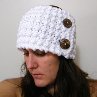 Hand Knit Headband / Ear Warmer or Neckwarmer with Coconut Button in White