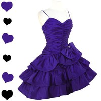 Vintage 80s PURPLE Glam TIERED Prom Party Dress S Full Skirt Ruched RUFFLES Zum Vintage 80s PURPLE Glam TIERED Prom Party Dress S Full Skirt Ruched RUFFLES Zum - eBay (item 300621404708 end time Nov-15-11 17:54:29 PST)