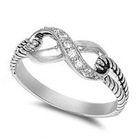 Silver Infinity Knot Ring - .925 Sterling Silver - Avail in Sizes 5 6 7 8 9 10