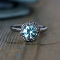 Blue Zircon Vintage Inspired Art Deco Gemstone Engagement Ring in 14k Palladium White Gold, Made To Order