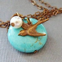 Turquoise bead Necklace With Flying Sparrow by pinkingedgedesigns