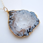 Geode Druzy Necklace in Gold, OOAK