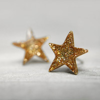 star post earrings in sparkly gold by tinygalaxies on Etsy
