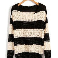 Loose Batwing Sleeves knit pullover in Stripe Print
