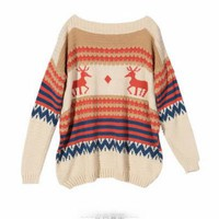 Deer Retro Loose Pullover