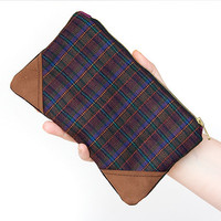 Checkered plaid pencil pouch  zipper clutch cosmetic case modern wool leather camel brown green rust orange purple plum teal