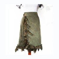 Canvas LUMME Skirt - Wraparound Ruffled Hustle Bustle - Military Romantic Khaki Gray Green - distressed -  Industrial Couture -