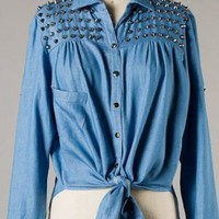 Spiked Denim Top