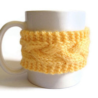 Yellow Mug Cozy Coffee Cozy Coffee Sleeve Cup Cozy Cable Knit