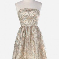 composed concerto sequined strapless dress at ShopRuche.com, Vintage Inspired Clothing, Affordable Clothes, Eco friendly Fashion
