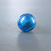 Dichroic Glass Tie Tack, Blue Dichroic Scarf Pin - Blue Stripes - 41