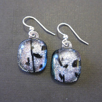 Pierced Silver Dichroic Glass Earrings - Monroe - 1569