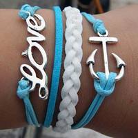 Blue wax rope Adjustable Bracelet, love, anchor bracelet, direct the course of love