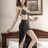 Wholesale Sexy Rhinestone Embellished Bikini Top Party Maxi Dress Black  http://www.wholesale-dress.net/