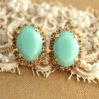 Mint green Crystal big oval stud earring - 14k plated gold post earrings real swarovski rhinestones .