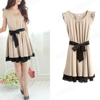 NEW-APRICOT Lotus Leaf Round Neck Chifon Dress XS-S