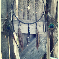 HOLIDAY SALE light dreams... 8 inch protective dreamcatcher with quartz crystal // gift under 75