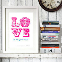 'love is all' print by reece ward prints | notonthehighstreet.com