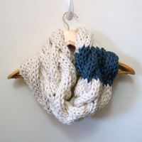 Hand Knitted Cable Cowl Infinity Scarf in Cream &amp; Blue