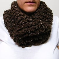Hand Knit Cowl Scarf in Tweed Brown