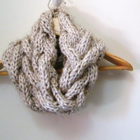 Hand Knit Cable Chunky Cowl Scarf in Wheat