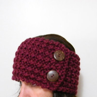 Hand Knit Headband / Ear Warmer or Neckwarmer with Coconut Button in Burgundy