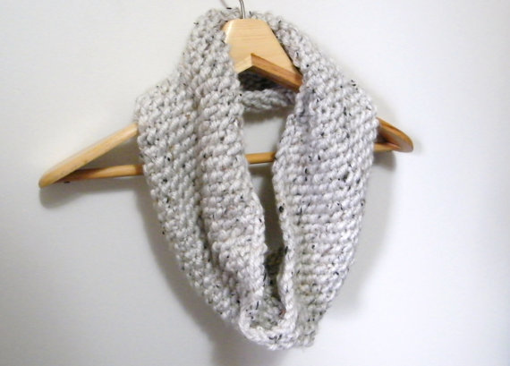 Hand Knit Cowl Scarf in Wheat