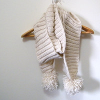 Hand Knitted Scarf in Cream with Extra Long with Pompoms