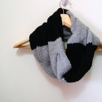 Hand Knitted Cable Cowl Scarf in Black & White, ColorBlock