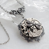 Steampunk Necklace Handmade Jewelry  by TrashAndTrinkets on Etsy
