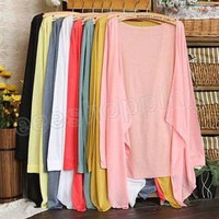 Korea Irregular Long Sleeve Thin Soft Open Cardigan Knit Jacket Sweater 11 Color