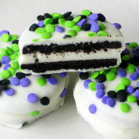 Halloween Confetti Oreos - 1 Dozen (12) Green, Purple, Black, Cookies, White Chocolate, Dipped, Trick, Treat, Holiday