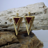 Gold & Burgundy Triangle Earrings