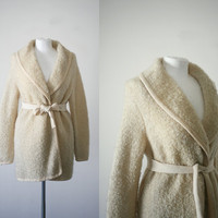1960s vintage Sakri nubby boucle cream wrap cardigan sweater