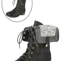 Bumper Freda17 Black Lace UP Two Way Combat Boots and Shop Boots at MakeMeChic.com