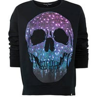 Delta Tribe Black Cosmic Melt Skull Sweater