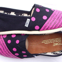 The Dottie - Fuscia and Black Custom TOMS