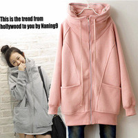 Casual Womens Korean Hoodie Loose Hoody Outwear Tops Jacket Coat Foldable Neck