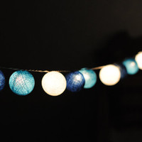 20 x Shaded Blue color cotton ball Bali lantern string light patio outdoor decorate deco room bedroom wedding patio party Beach balcony