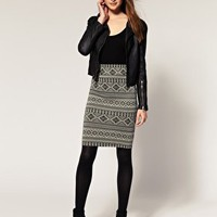 River Island | River Island Fairisle Midi Tube Skirt at ASOS
